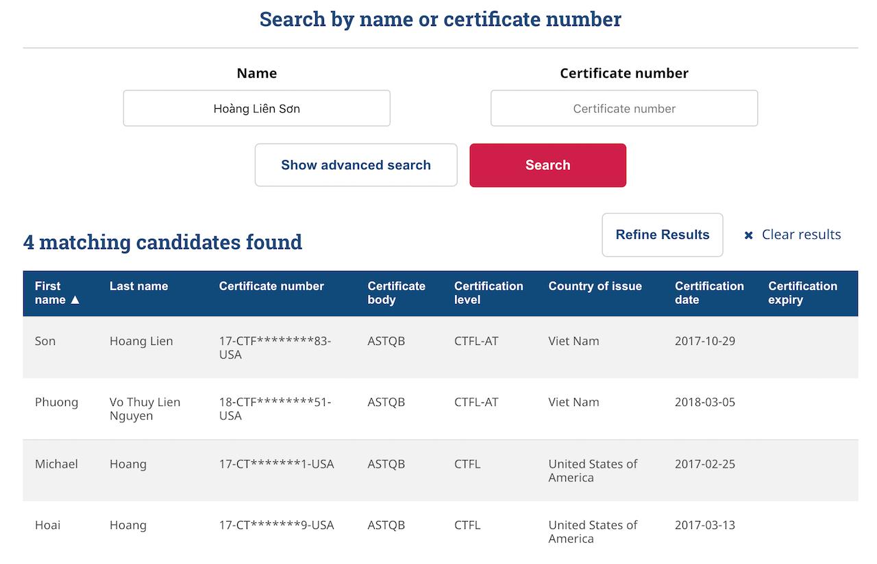Kết quả tìm kiếm tester có chứng chỉ ISTQB trên trang istqb.org