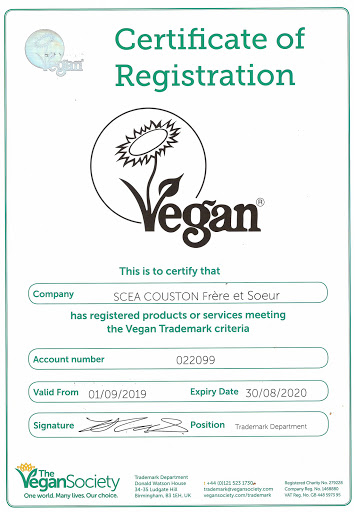Certificate of registration VEGAN 2020