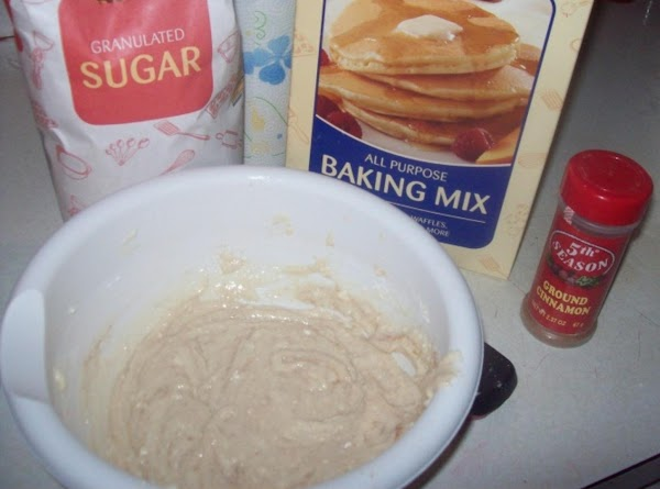 1.)	In a medium bowl, mix biscuit mix, sugar, cinnamon and buttermilk; beat 30 seconds,...