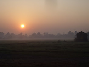 Photo: Sunrise at the Remount at Saharanpur 2008 - I used to ride here as a child and felt privileged that the Indian Army invited us as guests to return half a century later and we had such a wonderful happy time.