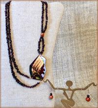 Photo: #181 MESSENGER OF THE GODS ~ ПОСЛАНЕЦЬ БОГІВ Copper enamel pendant, garnet, copper, glass, rose gold plate $150/set