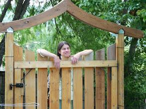 Photo: Sharon, gracing our beautiful gate