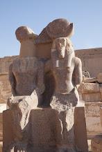 Photo: Medinat Habu, third hypostyle hall - Amonhotep III and Hathor?, taken from the Amenhotep temple