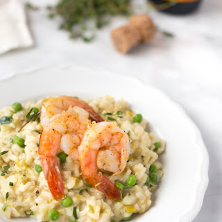 Champagne and Leek Risotto with Roasted Shrimp