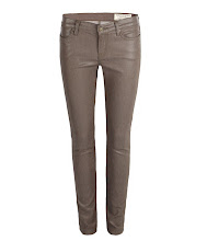 Photo: Petrel Brodie: Military>>  UK>http://bit.ly/MlSgji US>http://bit.ly/LgHdKG  A low rise extreme skinny fitting jean made using high shine coated stretch denim. The Petrel Brodie has a shorter inseam which twists to the back leg with zip detail at the hem. This style features a laundered brown leather patch, signature profile stitch on back spade pockets, and signature AllSaints gunmetal metalwork.