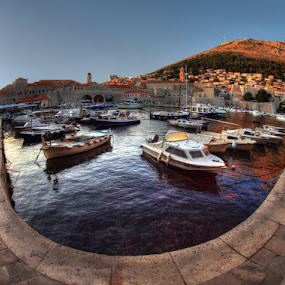 Dubrovnik by Branislav Rupar - City,  Street & Park  Street Scenes ( water, blue, ship, marina, boat, sea, while, pavement, colorful, mood factory, vibrant, happiness, January, moods, emotions, inspiration )
