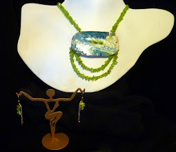 Photo: <BEREHYNYA> {Great Goddess Protectress} unique one-of-a-kind statement jewellery by Luba Bilash ART & ADORNMENT  UNDERCURRENT - ТЕЧІЯ - copper enamel pendant, peridot, rose gold vermeil $170/set SOLD/ПРОДАНИЙ