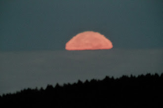 Photo: Moon setting behind low stratus clouds