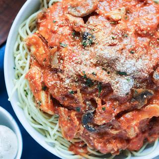 Chicken Mushroom Pasta with Tomato Cream Sauce.
