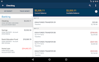 Screenshot of USAA Mobile