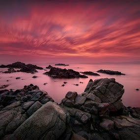 Red...Red Sunrise by Atanas Donev - Landscapes Sunsets & Sunrises ( clouds, sky, red, rocks, fire )