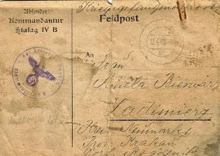 Photo: 1940 rok. Komendant oboz pracy w Niemczech informuje P.Aniele Bienias o pobycie męża w obozie.