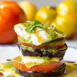 Grilled Barramundi with Eggplant and Tomato Stacks
