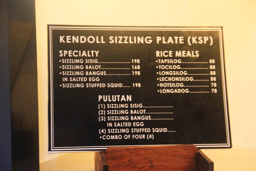 Kendoll Sizzling Plate Menu