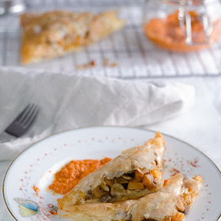 Moroccan Vegetarian Bastilla (Pastilla), Roasted Pepper and Hazelnut dip