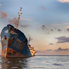 Drifting by Panait Sorin - Transportation Boats ( sky, wreck, drifting, ship, water )