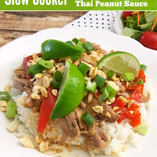Slow Cooker Shredded Pork with Thai Peanut Sauce