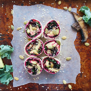 Kale Mushroom Sushi with Beet Hummus.