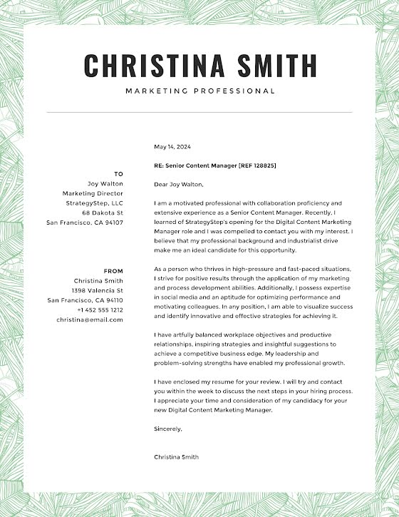 Christina Smith - Cover Letter Template