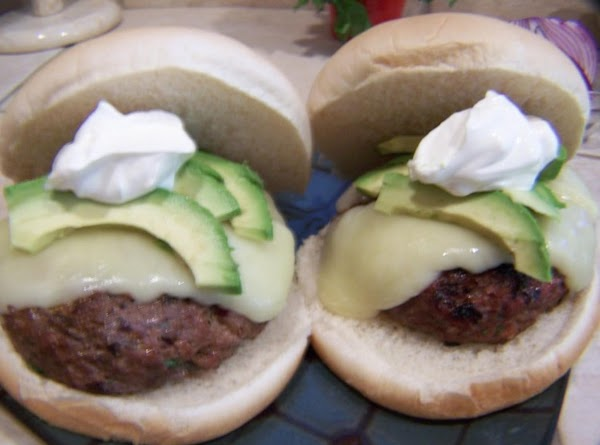 We put them on burger rolls and topped them with the avocado and sour...
