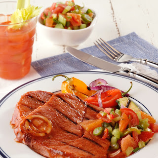 Eye-Opening Spicy Bloody Mary Ham Steaks.
