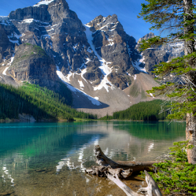 Valley of the Ten Peaks by John Larson - Landscapes Mountains & Hills ( water, mountains, sky, lake, forest, rocks )