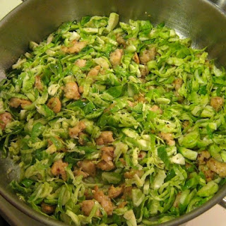 Cannellini with Shredded Brussels Sprouts and Sausage