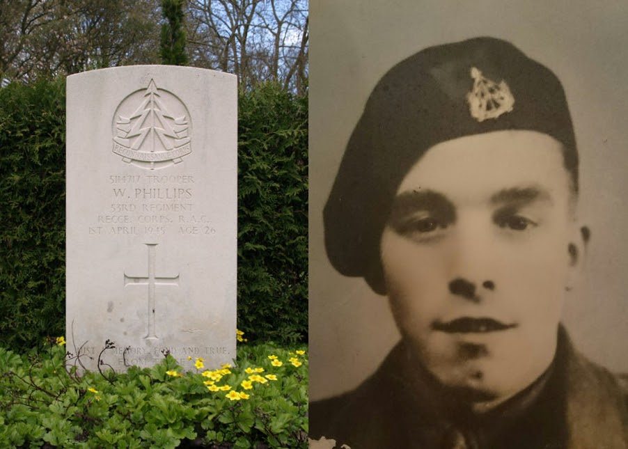 Trooper W. Philips 53rd Regiment RECCE Corps RAC, gedood 1e April 1945 at age 26