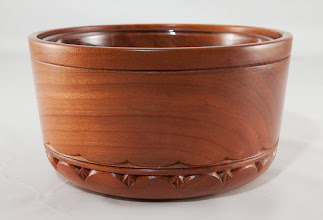 "Photo: Margaret Follas 7"" x 4"" carved bowl [cherry] side view"