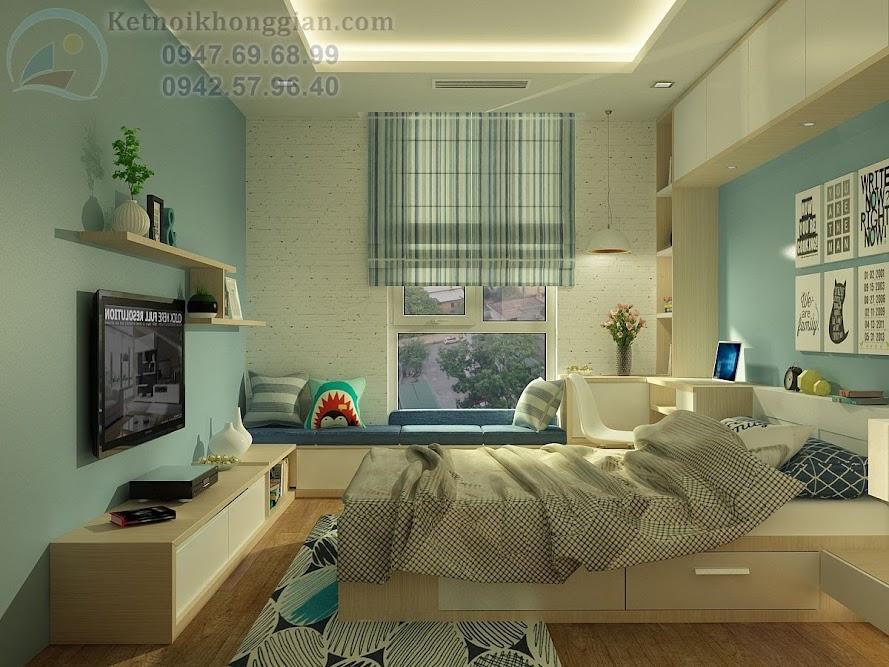 thiết kế phòng ngủ chung cư phong cái trẻ trung sáng tạo