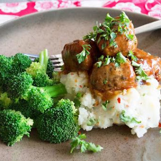 Homemade Pineapple Chicken Meatballs With Mashed Cauliflower