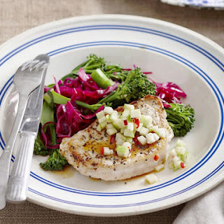 Pork Chops with Braised Vegetables and Apple Salsa Recipe