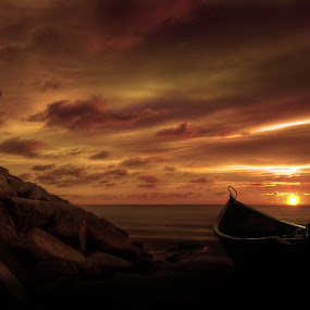 Alone by Mohamad Sa'at Haji Mokim - Landscapes Beaches ( sky, tree, sunset, beach, boat, rocks )
