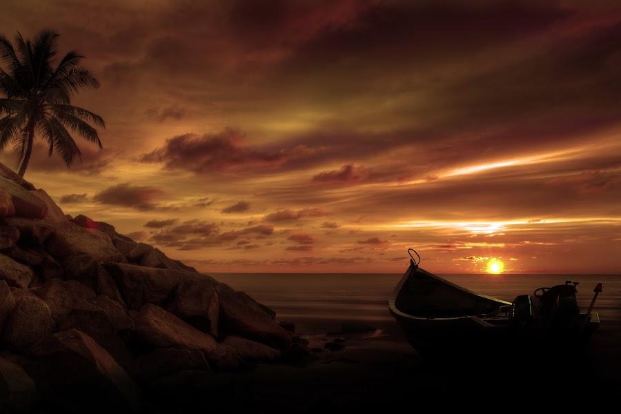 Alone by Mohamad Sa'at Haji Mokim - Landscapes Beaches ( sky, tree, sunset, beach, boat, rocks )