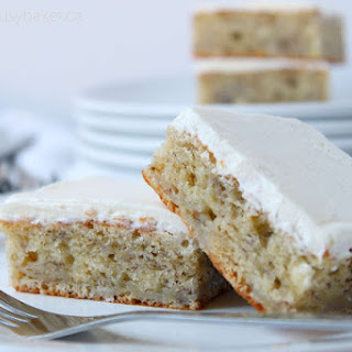 Banana Bread Bars with Fluffy Butter Icing