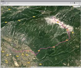 Photo: Le parcours du Mont Ventoux à partir de Bédoin, le plus difficile des 3 départs possibles (les autres sont Mallocène et Sault).