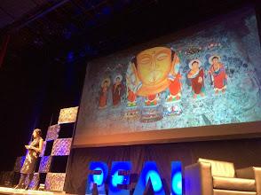 Photo: Sarah Kenderdine presentingat #REAL2015 Main Stage