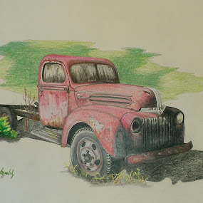 Once Red by Lew Davis - Drawing All Drawing ( car, automobiles, old, old car, vintage cars, old trucks, truck, automobile, vehicle, rusty, antique car, trucks, cars, vehicles, rust, antiques, color pencil drawing, autos, art, lew davis color pencil, old truck, blue, auto, blue car, antique,  )