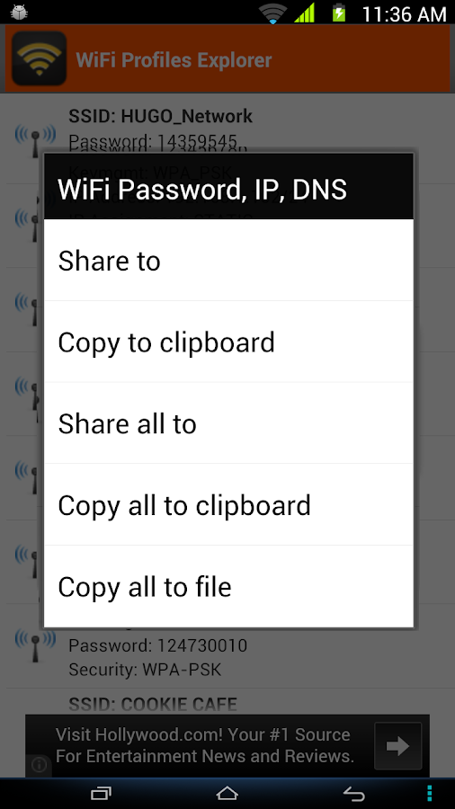 WiFi Password, IP, DNS- screenshot