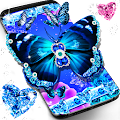 Blue glitter butterflies live wallpaper APK