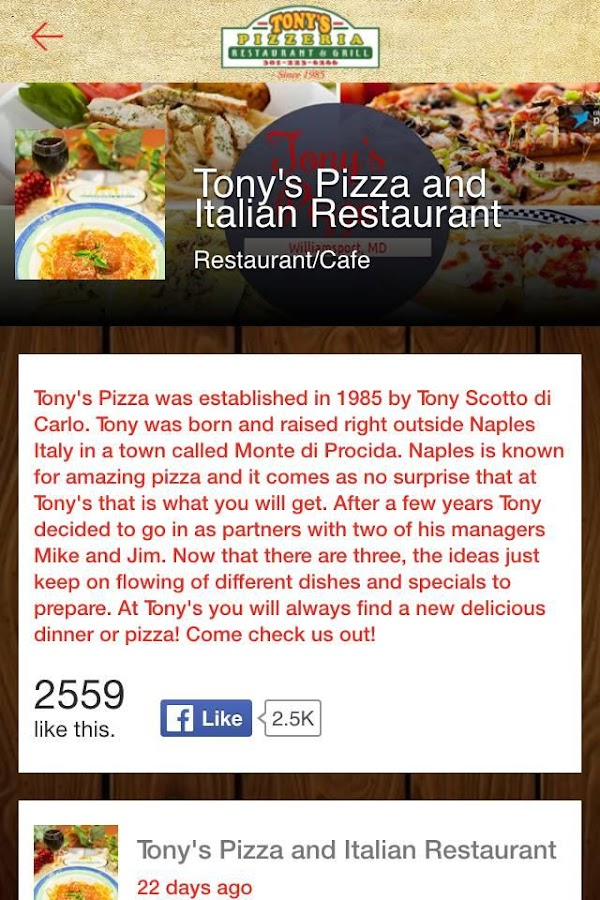 Tony's Pizza- screenshot