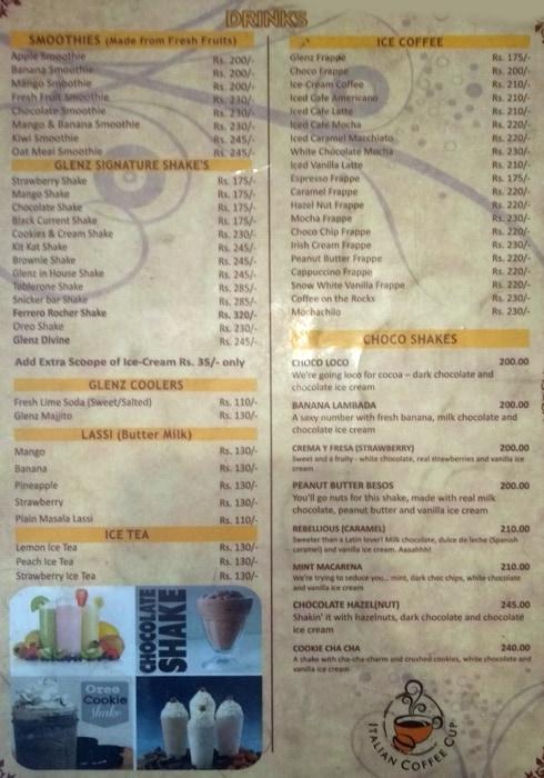 Glenz Cafe N Bakers menu 1
