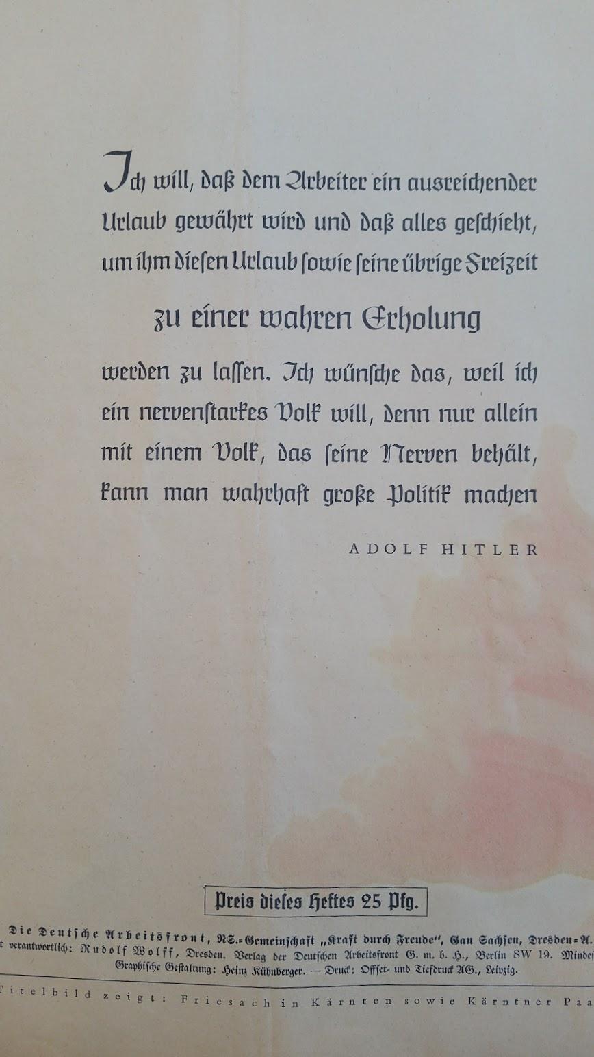 """Die Deutsche Arbeitsfront - Urlaubsfahrten 1939 - NS-Gemeinschaft """"Kraft durch Freude"""" Gau Sachsen - Katalog - Zitat Hitler"""