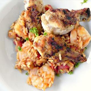 Jambalaya with Shrimp and Crispy Chicken Wings.