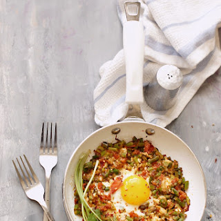 Fried Egg with Asparagus and Feta Hash.