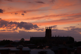 Photo: June 25th (sunset with Worcester Cathedral)