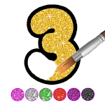 Glitter Number and letters coloring Book for kids 2.0