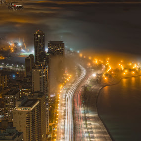 LSD @Night by John Harrison - City,  Street & Park  Skylines ( lights, lake michigan, lake shore drive, night, chicago, jnhphoto )