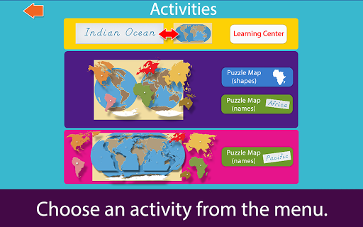 Montessori Continents & Oceans app for Android screenshot