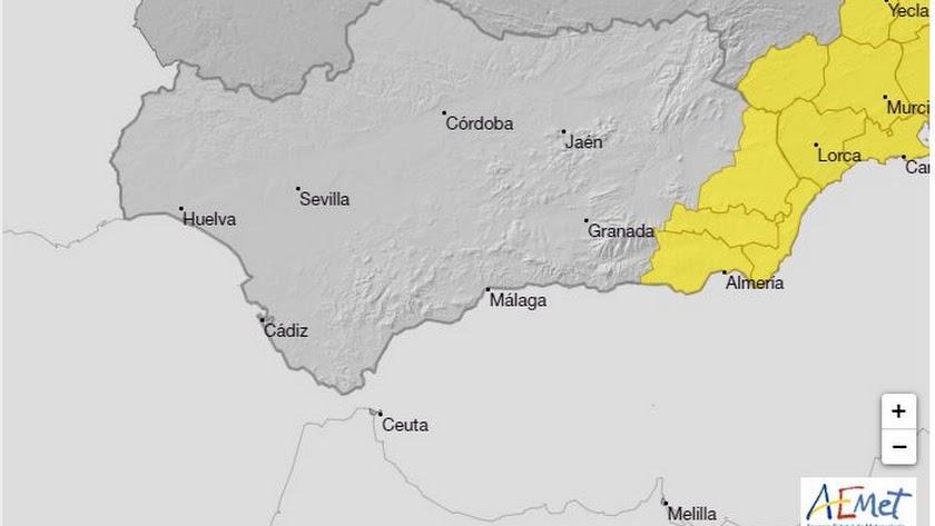 Toda la provincia está en alerta amarilla.